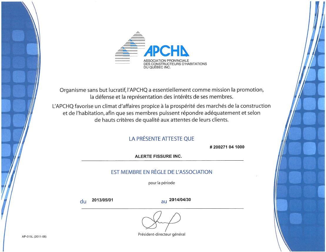 APCHQ-CERTIFICATION